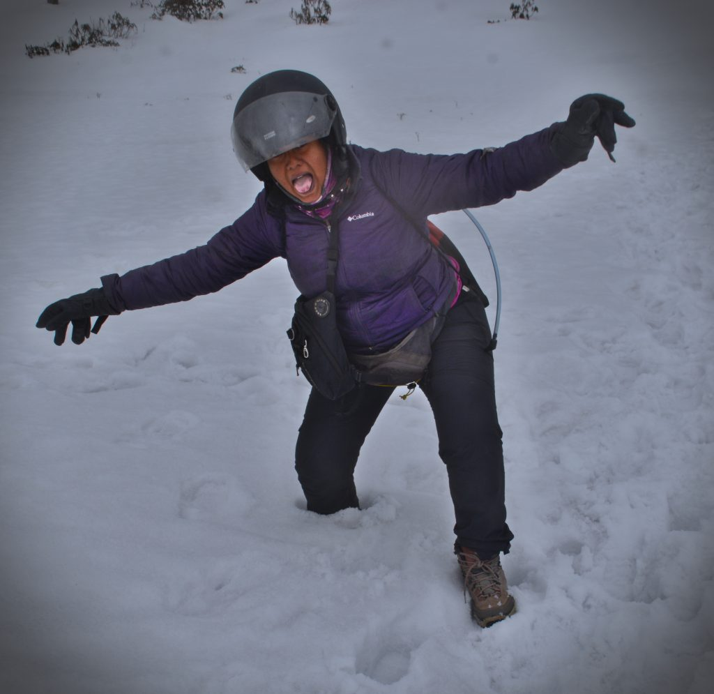 Priya tries to walk on a foot of snow in Tawang, Arunachal Pradesh.