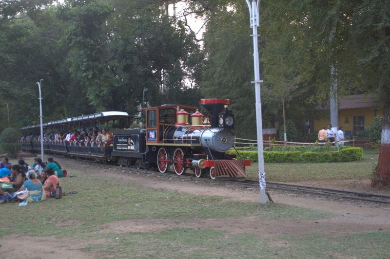 Toy train inside Sayaji Baug.