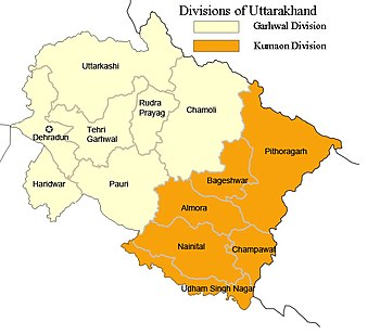 Districts in Garhwal and Kumaon. Garhwal lies to the north-west and Kumaon to the south-east