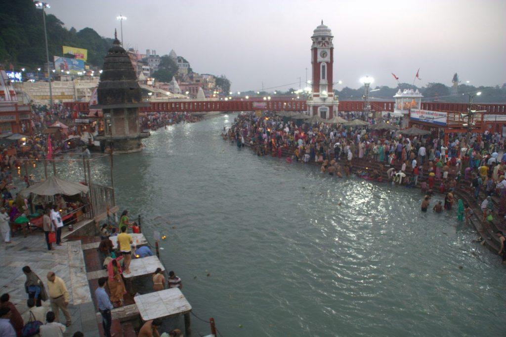 Haridwar's heart, the Har ki Paudi Ghat, just after morning Aarti.
