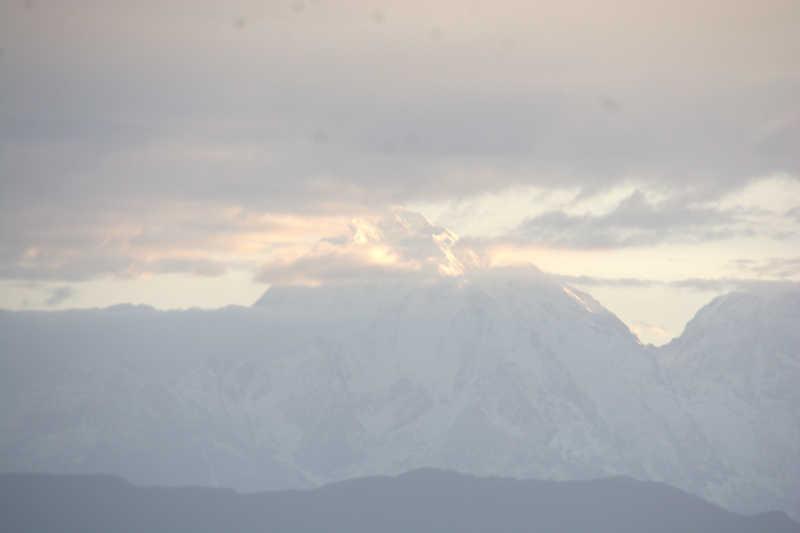 Snow peak (possibly Nandadevi) seen from Anasakti Ashram, Kausani.