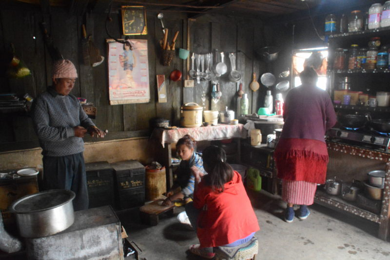 Due to the cold weather, Monpas spend most of their time at home inside the kitchen,, where the furnace is. The kitchen is made big enough for the entire family and a few neighbours to gather and socialise.