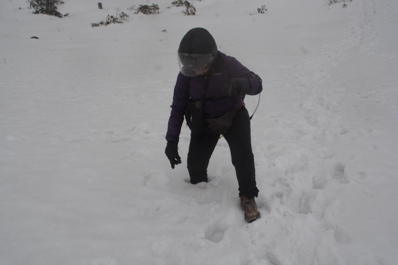 Priya attempts to walk in the knee-deep snow at P T Tso lake.