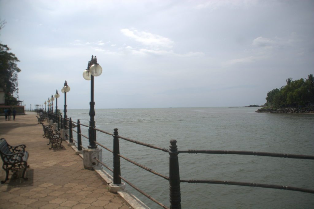 The promenade at Mahe, which is an enclave of Pondicherry union territory. Here, the Mayyazhi river meets the Arabian sea.