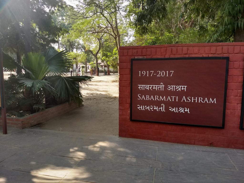 Sabarmati Ashram is on the western bank of Sabarmati river at Ahmedabad.