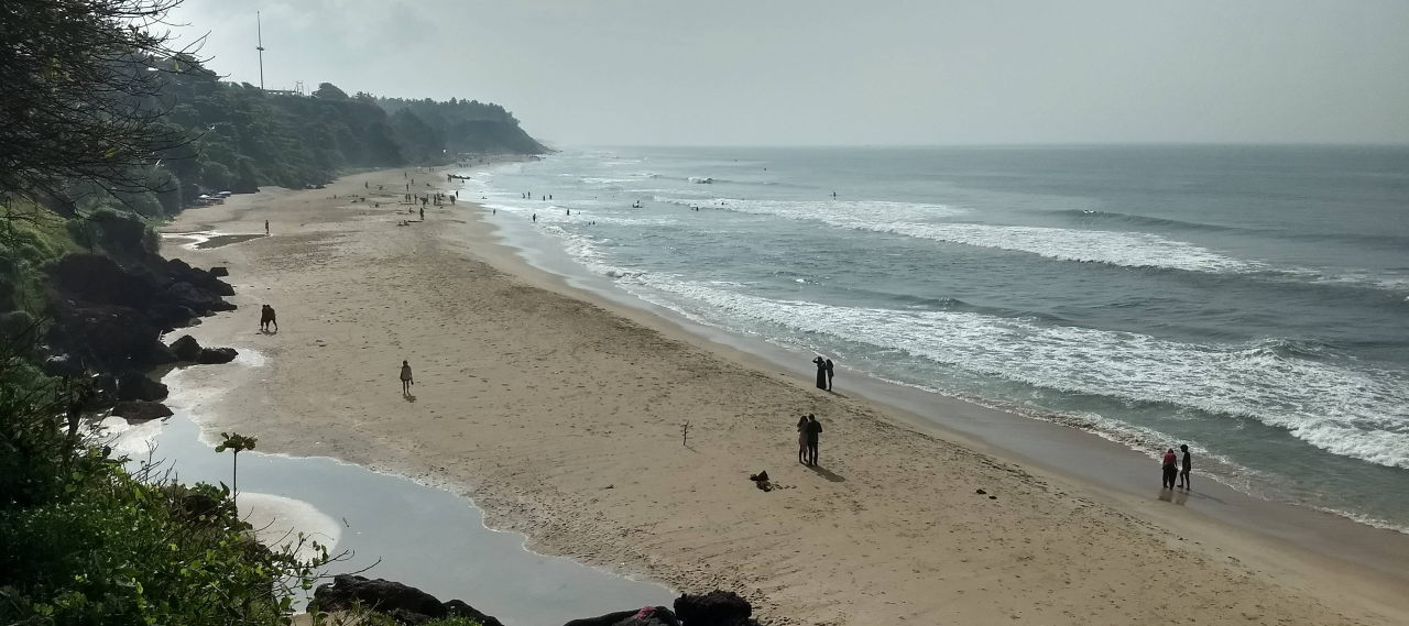 View of Varkala beach from the hill adjacent to the beach.
