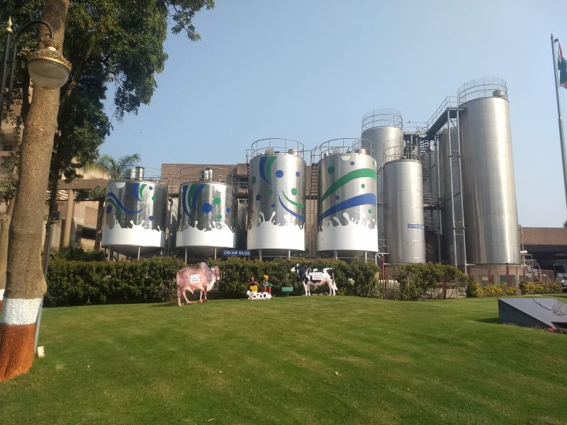Huge silos of milk at Amul dairy, Anand