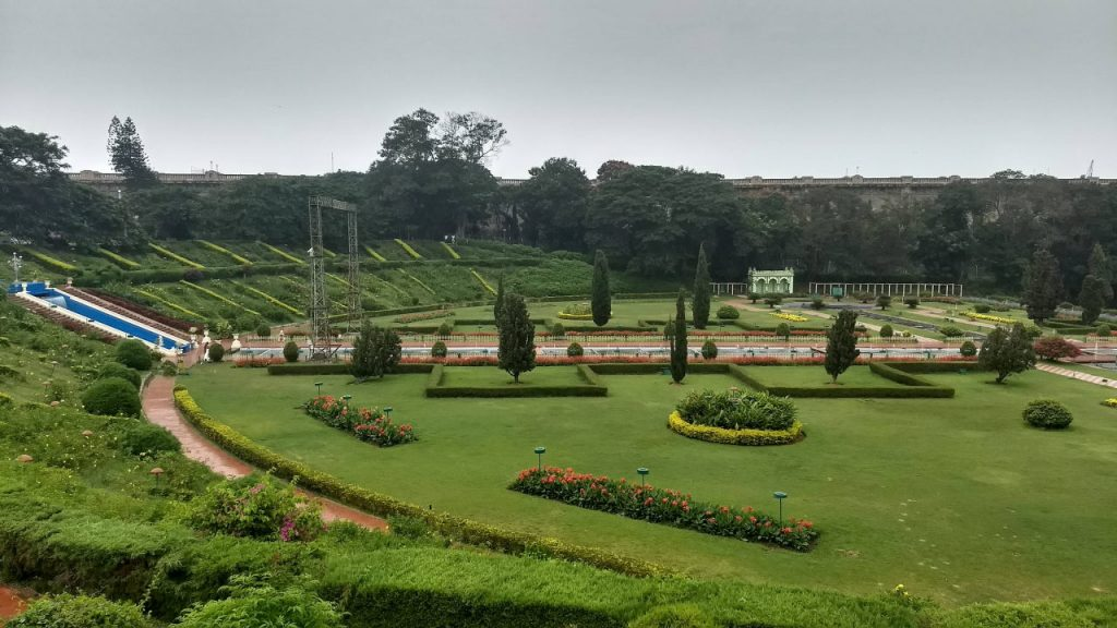 Brindavan gardens on the leeway of the Krishna Raja Sagara dam